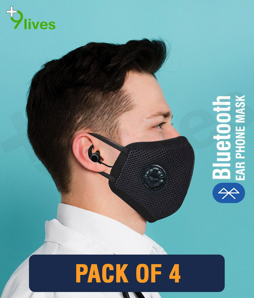 9lives 6 layer protection Bluetooth DN95 Anti pollution Mask / Face cover- Pack of 4