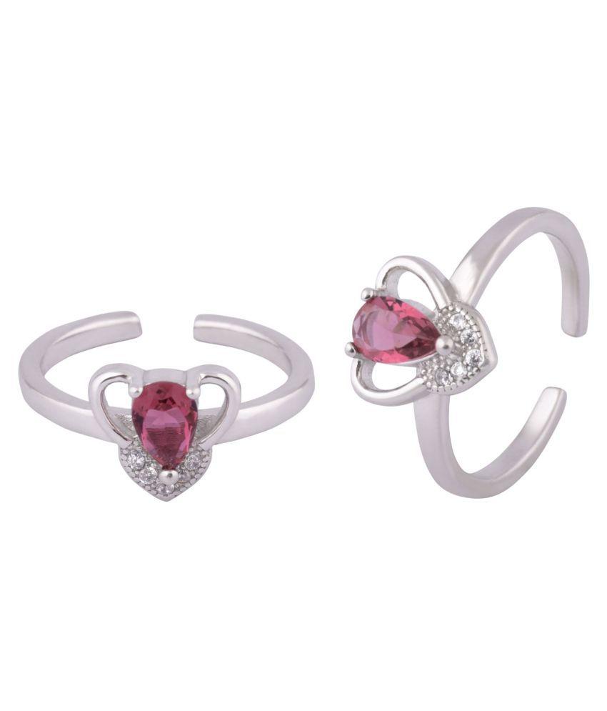 Heart Stone Silver Toe Ring-TRMX119