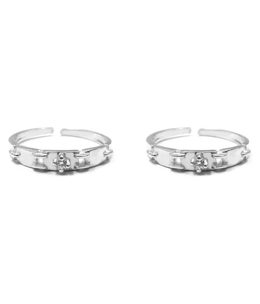 Impressive White Silver Toe Ring-TOER054