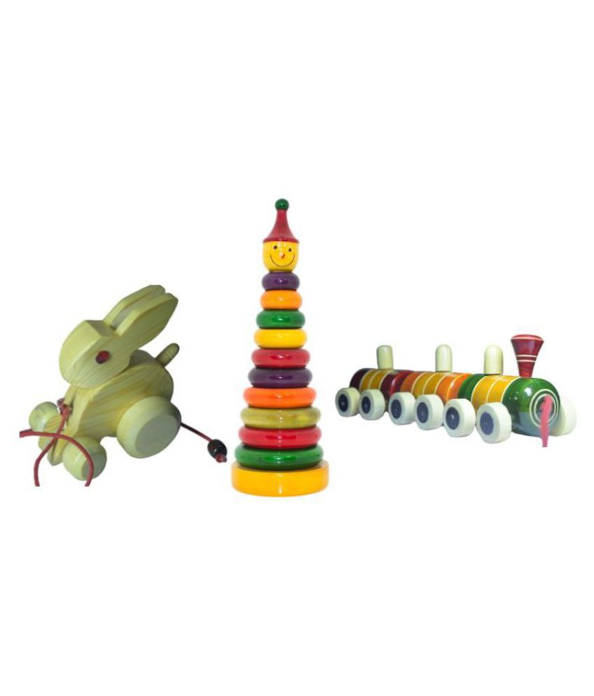 Toddler Toy Kit of 3 Wooden Pull along Combo set - Ring set, Rabbit and Train