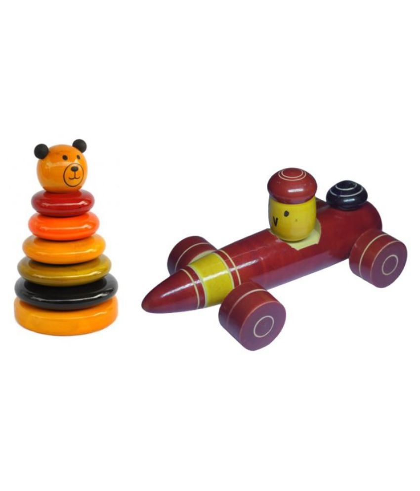 Wooden Stacking Puzzle Ring set and Racing Car Combo pack of 2