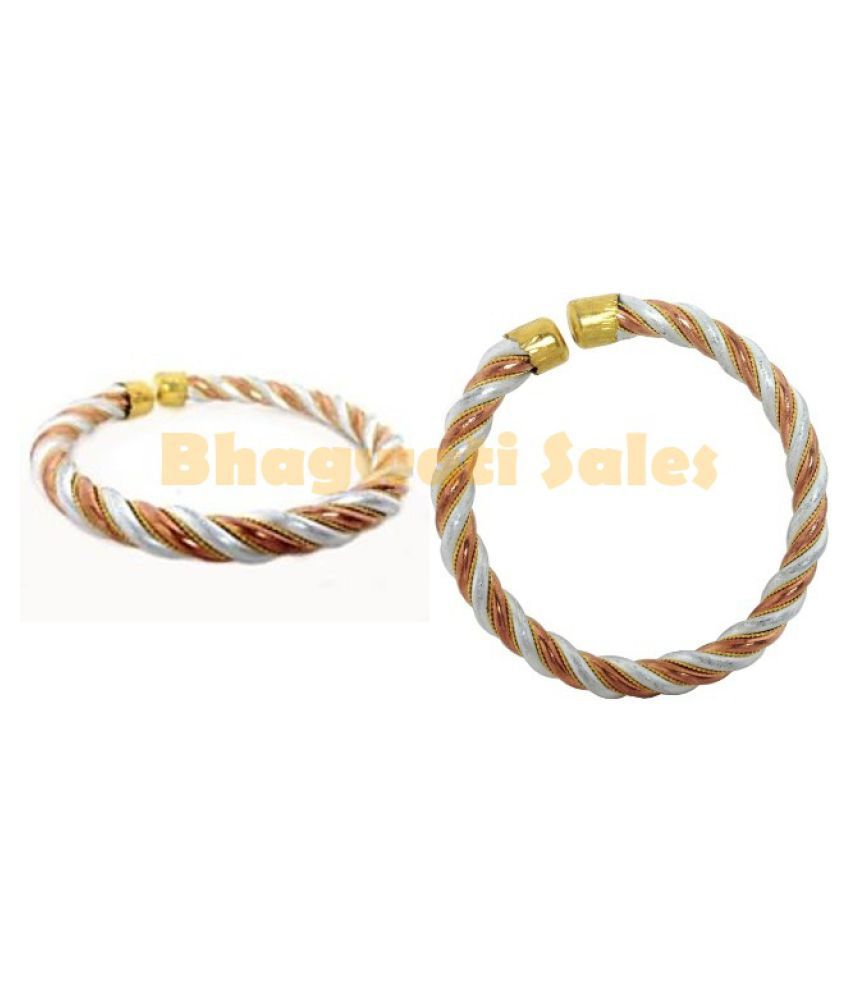 BHAGWATI SALES 100% Pure Ashtdhatu Adjustable Bracelet Kada for Men And Women increase Vitality , Confidence And For Luck Pack Of 2