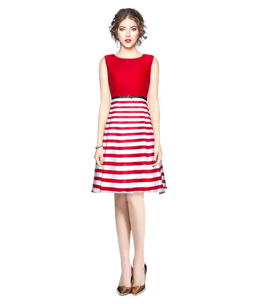 SAIRAJ FASHION Satin Red Fit And Flare Dress