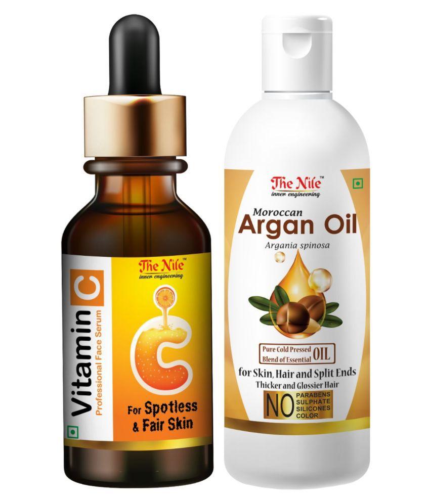 The Nile Professional Vitamin C Face Serum + Moroccan Argan Oil 100 ML Face Serum 130 mL Pack of 2