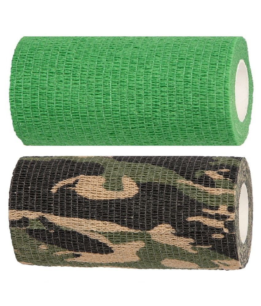 A-TAPE Cohesive Crepe Elastic Bandage Army & Green (10 cm X 4.5 m, Pack of 2)