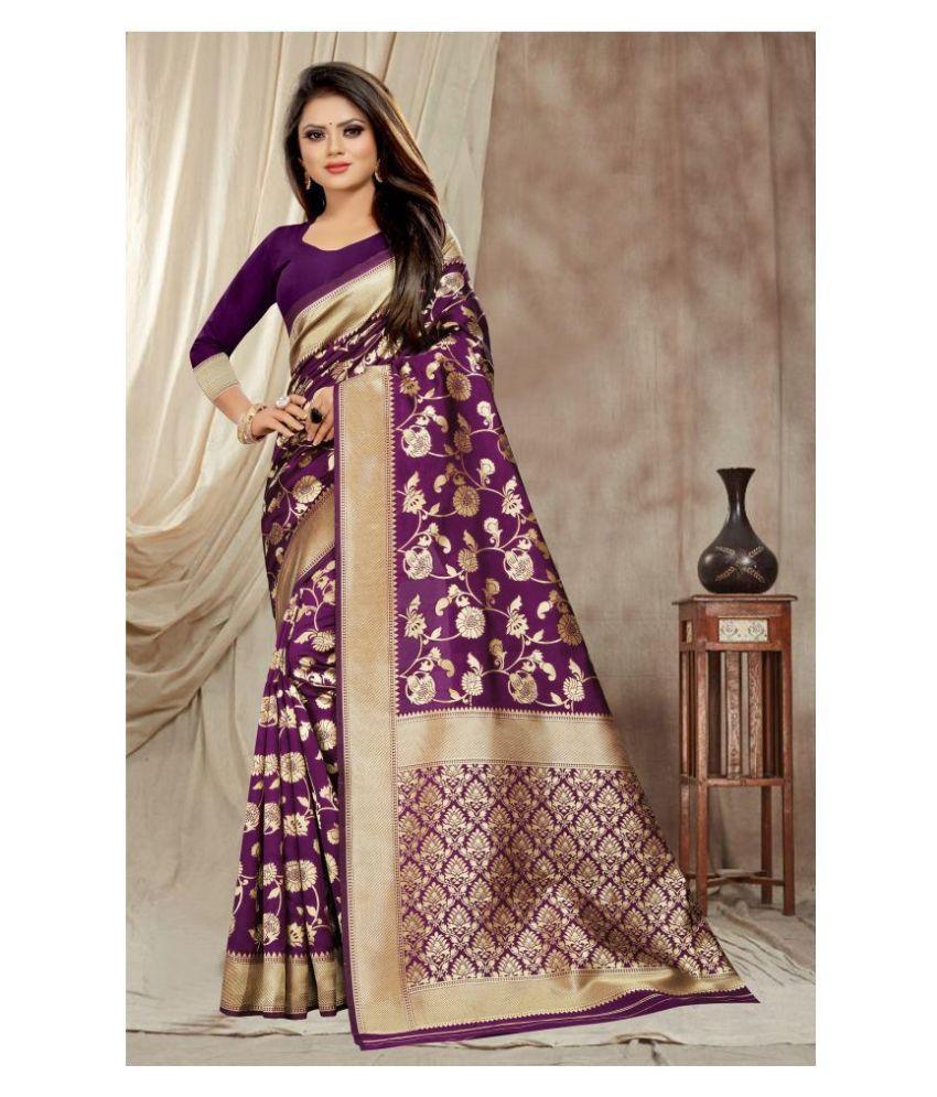Gazal Fashions Purple Banarasi Silk Saree