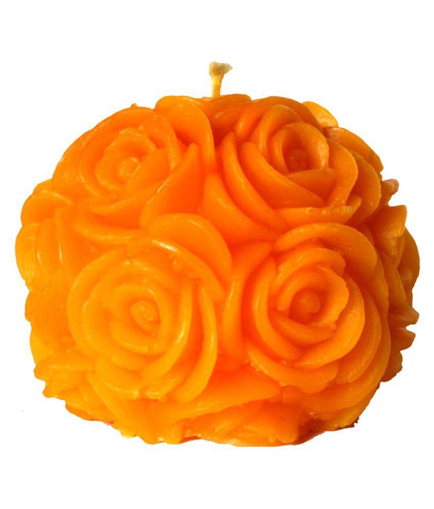 Kanha Ji Creations Yellow Rose Ball Candle - Pack of 1