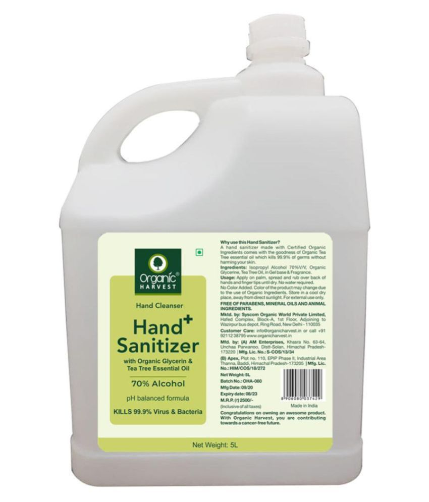 Organic Harvest  Hand Cleanser -   With Tea Tree Essential Oil  Hand Sanitizer 5000 mL Pack of 1
