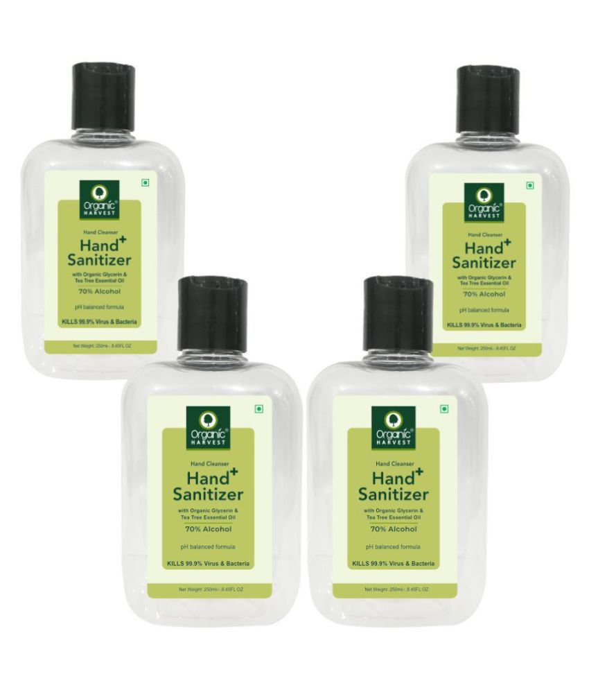 Organic Harvest Instant Anti - Bacterial Gel 70% Alcohol Hand Sanitizer 250 mL Pack of 4