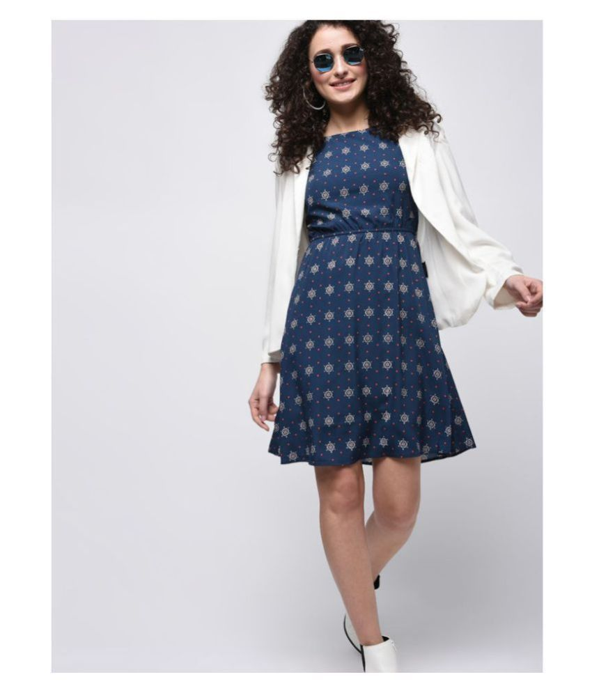 KAPOOR BROTHERS Crepe Blue A- line Dress