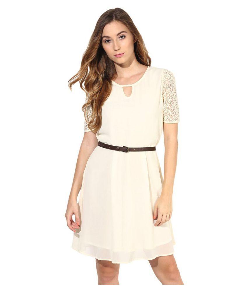 La Zoire Georgette Beige Regular Dress