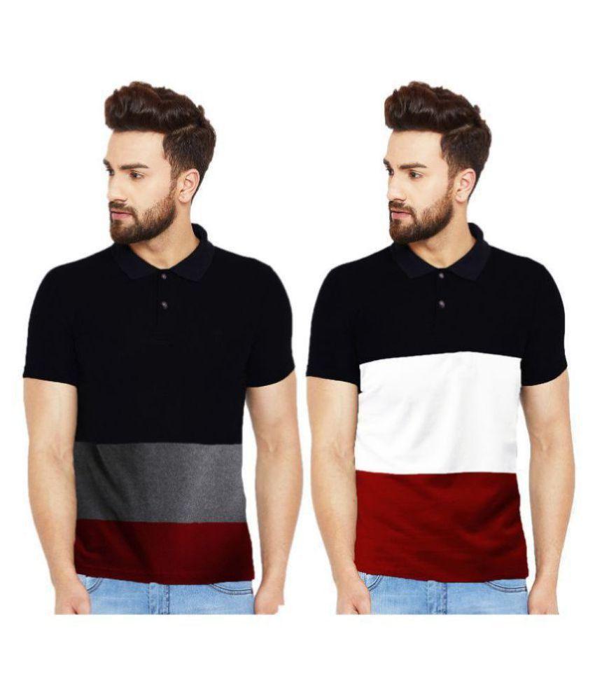 Leotude 100 Percent Cotton Multi Color Block Polo T Shirt
