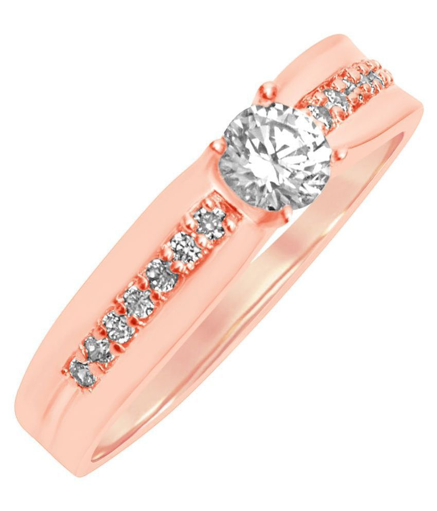 MFJ Fashion Jewellery Fine Brass Rose Gold Plated Center Diamond Finger Ring For Women
