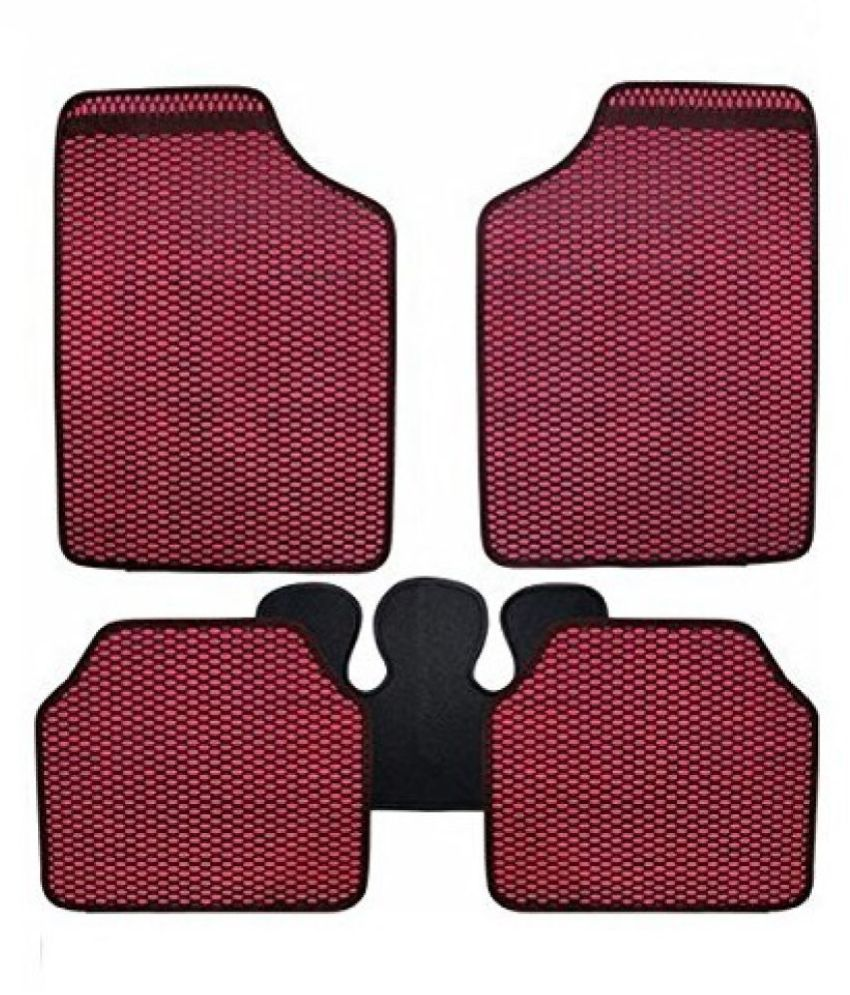Autofetch Car Eclipse Odourless Floor/Foot Mats (Set of 5) Red for Maruti New Vitara Brezza