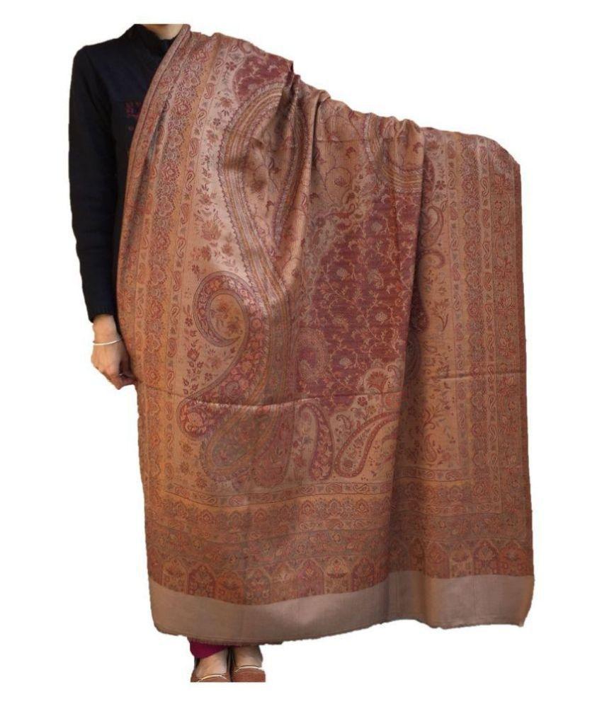 KASHMIRI Beige Loom-Woven Shawl