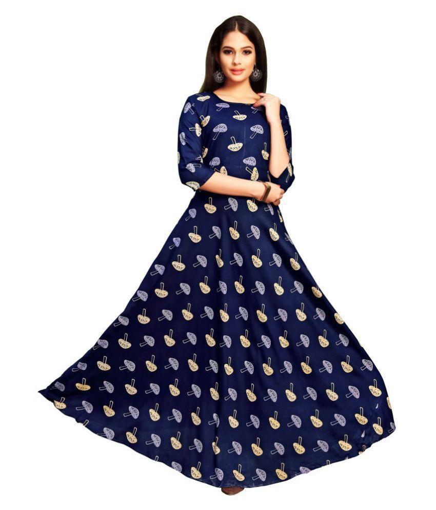 Shital Fashion World Blue Rayon Anarkali Kurti