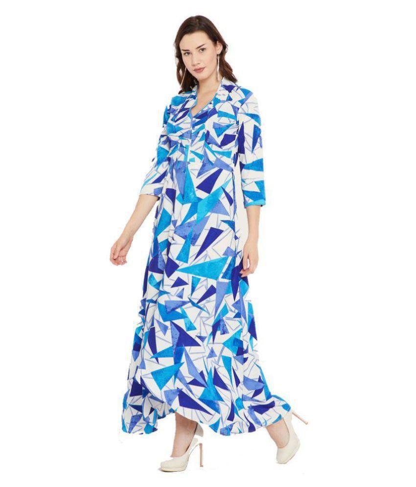Cottinfab Crepe Blue Fit And Flare Dress