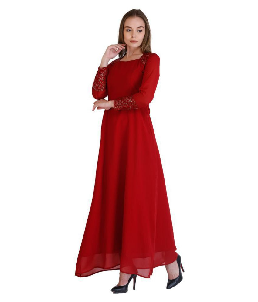 Cottinfab Crepe Maroon Fit And Flare Dress