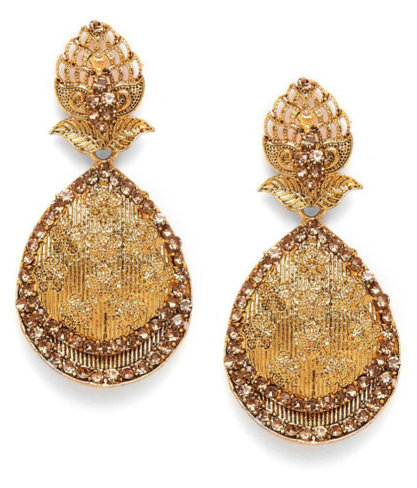 ZeroKaata Golden Ethnic Drop Earrings With Embellished Floral Motifs