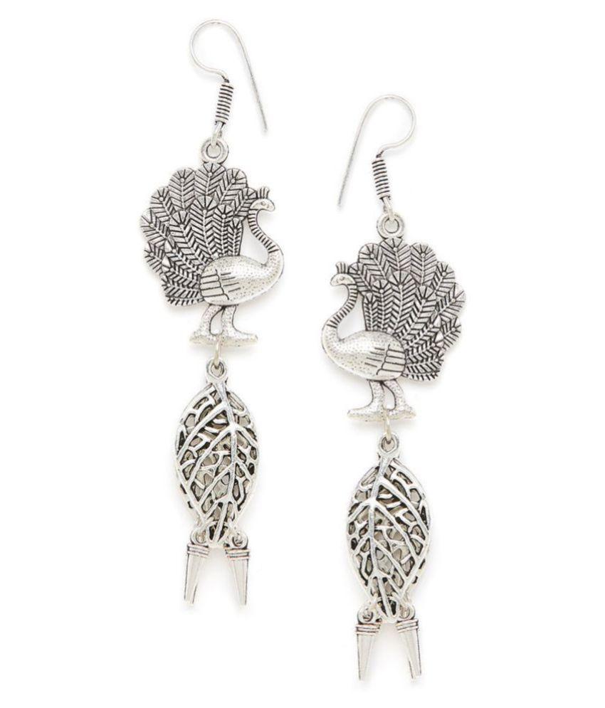ZeroKaata Layered Peacock Oxidized Silver Earrings