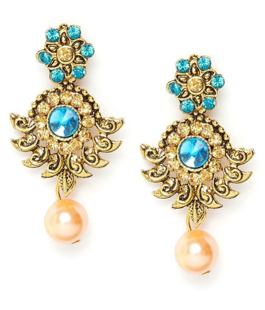 ZeroKaata Short Golden and Blue Ethnic Earrings With Rose Gold Pearl