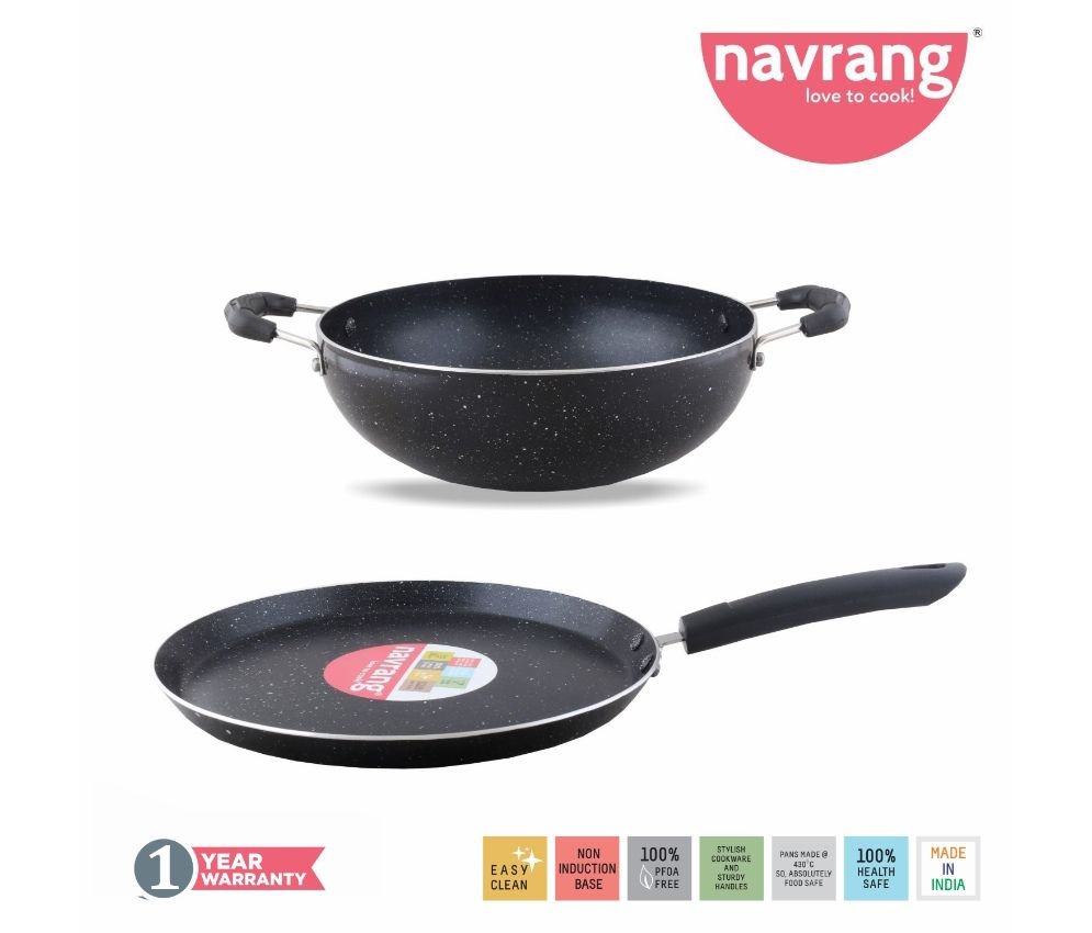 Navrang Non Stick Aluminium Nonstick Spatter 2 Pcs Gift Set , Tawa 275mm,Kadai 230mm, Black & white Granite Finish  -Non Induction