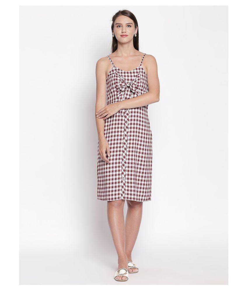 Mesmerize Cotton Maroon A- line Dress