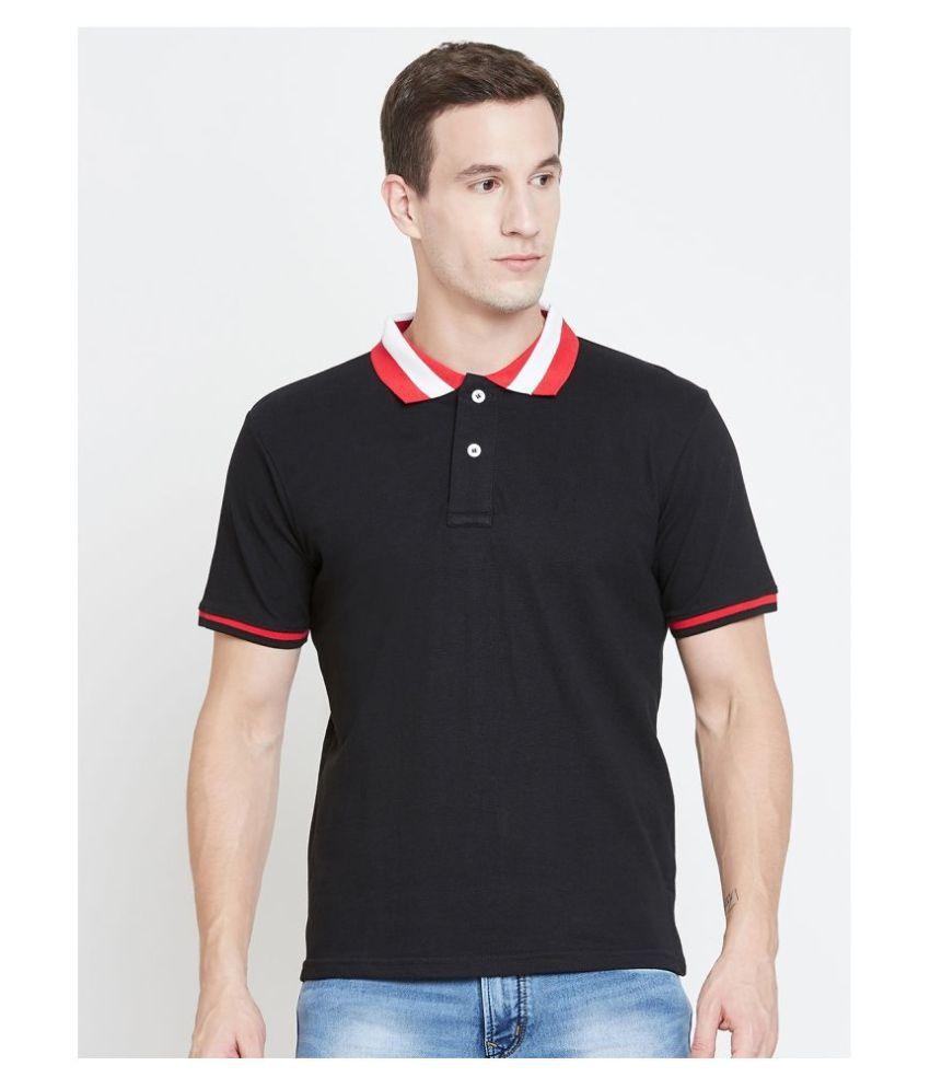 The Dry State 100 Percent Cotton Black Plain Polo T Shirt