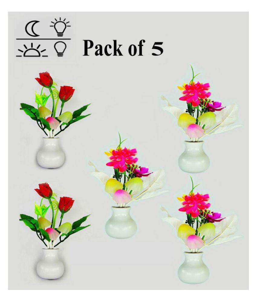 Vertical9 Mushroom Shape LED Color Changing Light Automatic Sensor Night Lamp Multi - Pack of 5