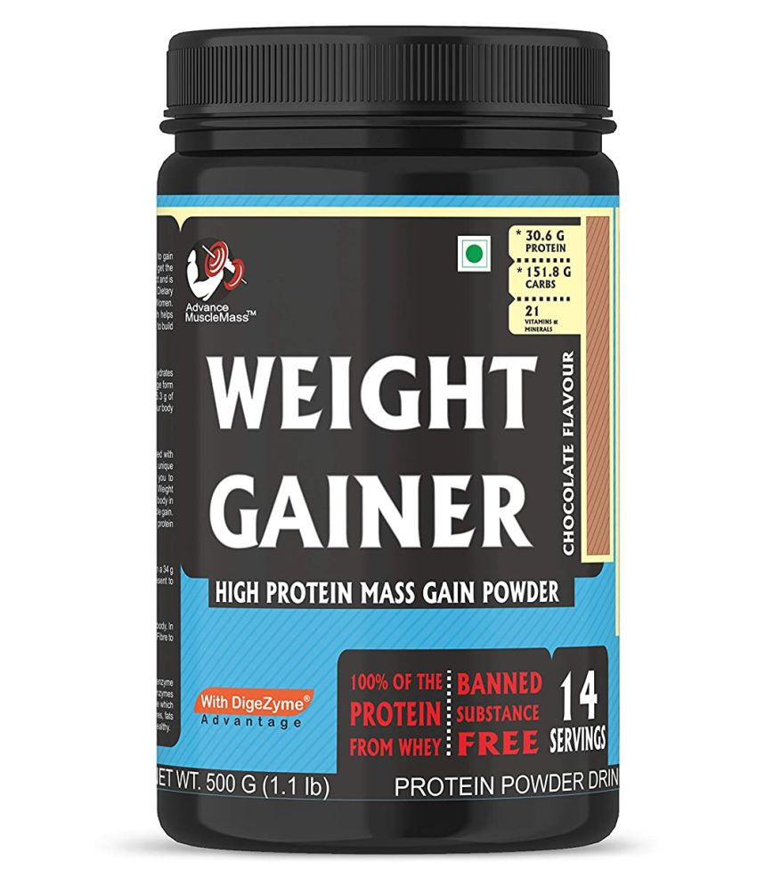 Advance MuscleMass Weight Gainer with  Digestive Enzymes Blend 500 gm Weight Gainer Powder