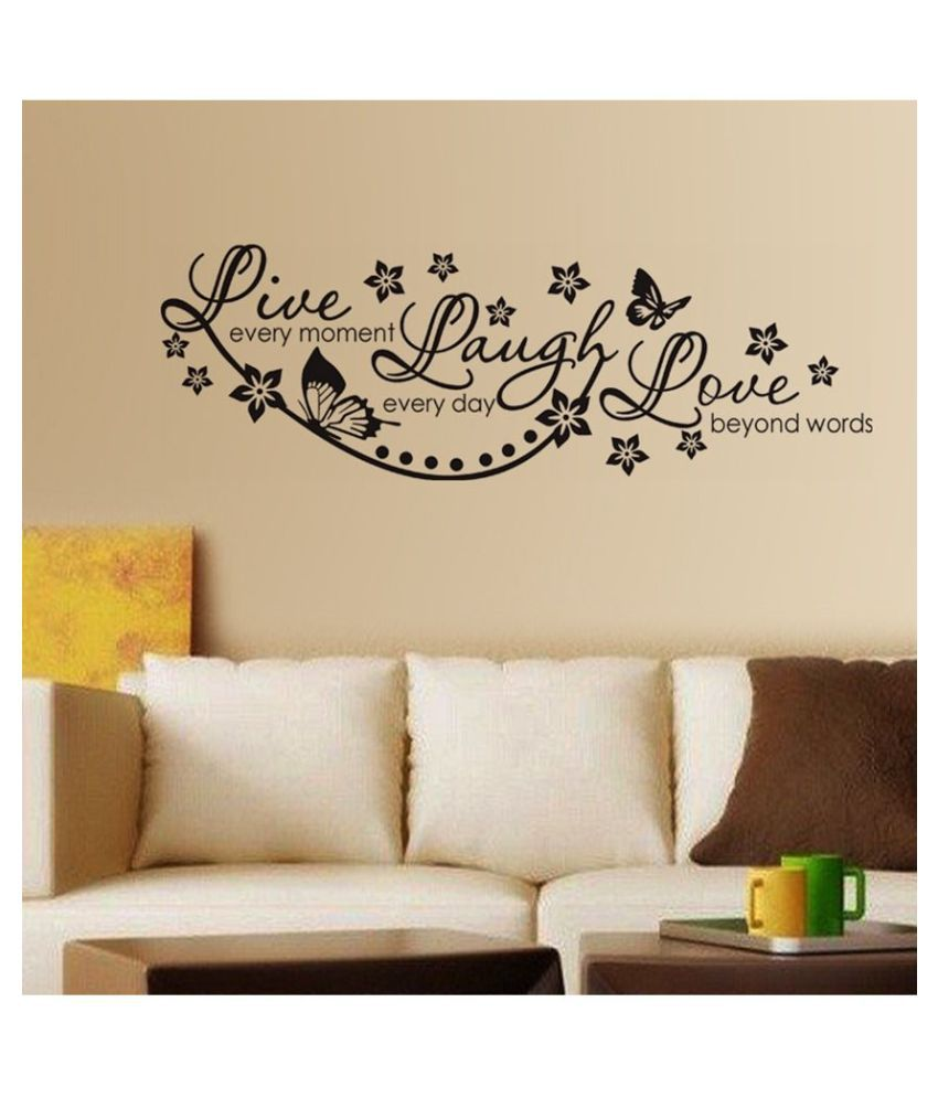 HOMETALES Live Laugh And Love Wall Quote Family Sticker ( 110 cm x 70 cm)