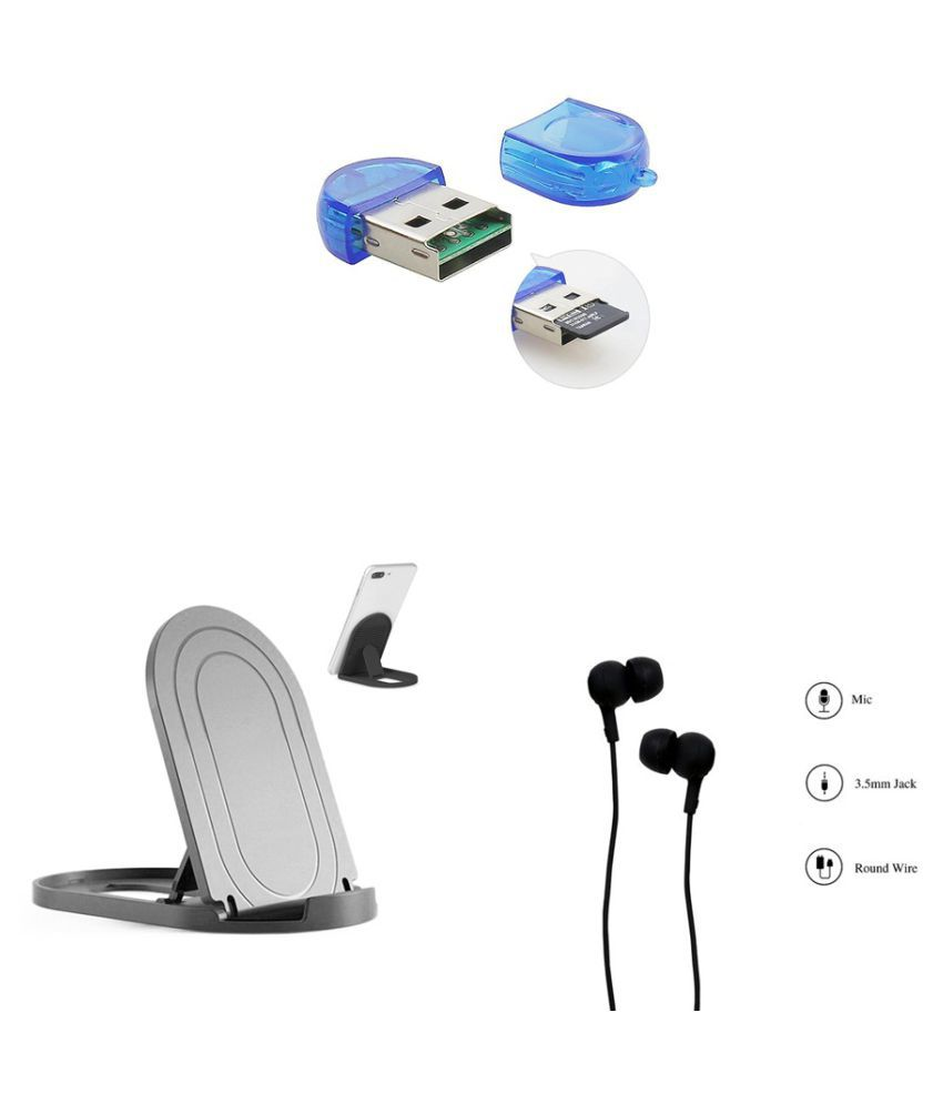 minifox 2 Multicolour 2.0 Card Reader Vh121 Wired Earphone, Mobile Stand