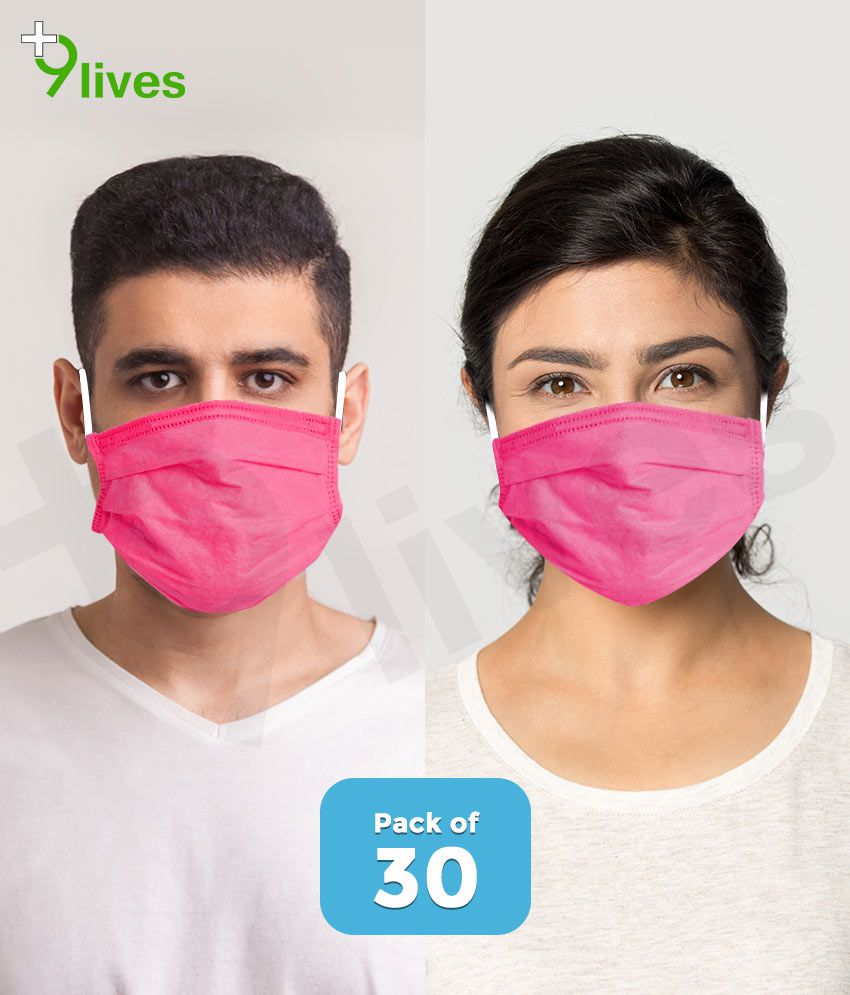 9lives 3 Ply Ultrasonic Seaming Disposable Face Mask with Nose Pin -( Pink , Pack of 30 )