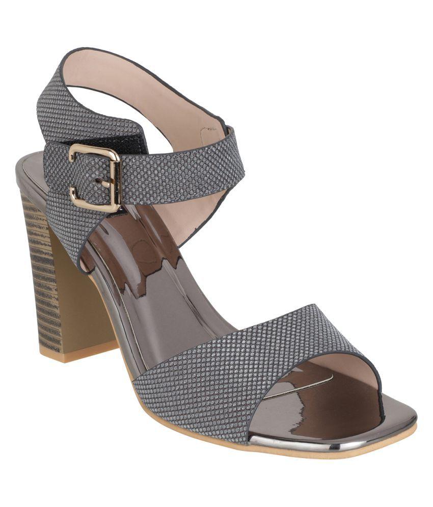 sherrif shoes Gray Block Heels