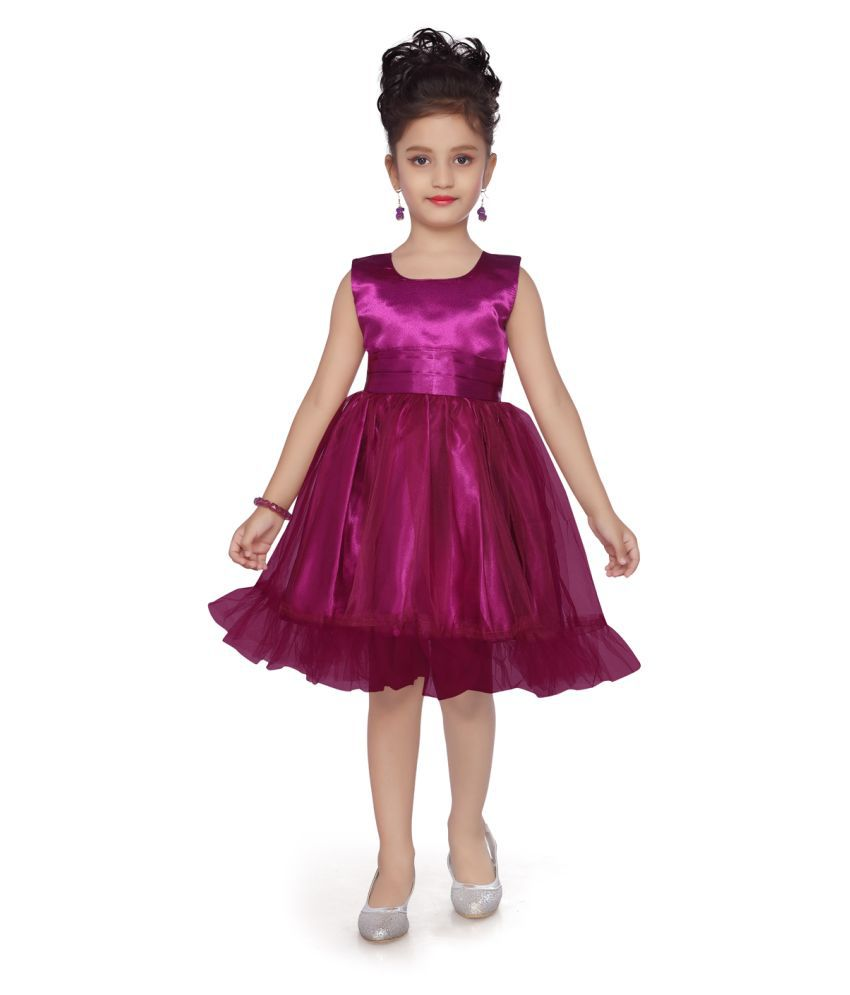 Aarika Girl's purple coloured Casual Wear Frock