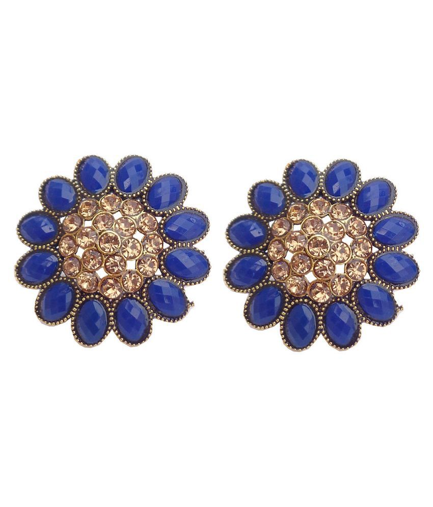 Trendeela.com Noor Collection Light Weight & Heavy Look Yellow Gold Plated Stud Earrings For Women ( Gold & Blue )