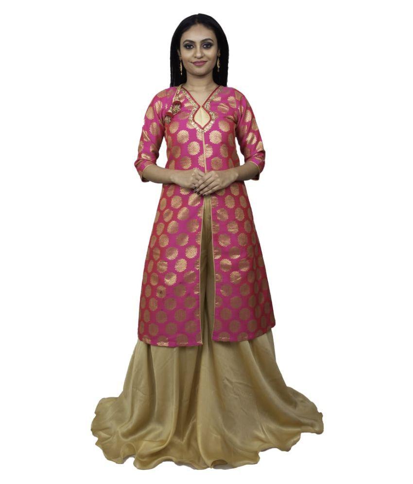 Ankithas Silk Gold A- line Dress