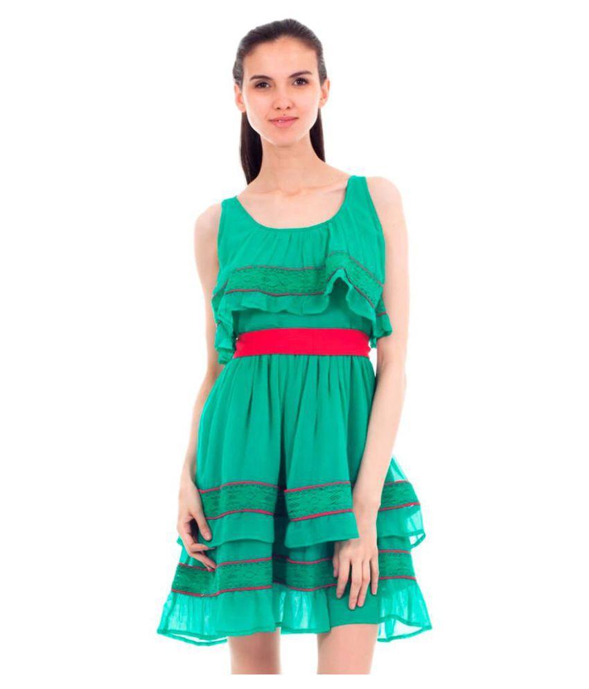 Forever9teen Georgette Green Regular Dress