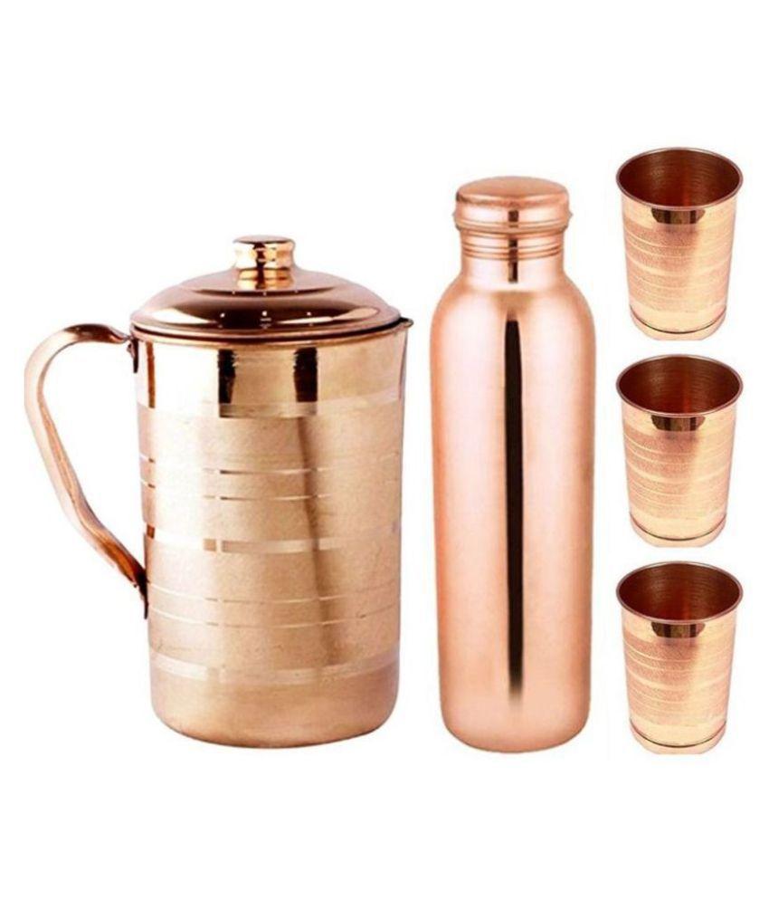 KC Copper 1.5L Jug, 1L Water Bottle and 300ml  3 Glass   5 Pcs Combo