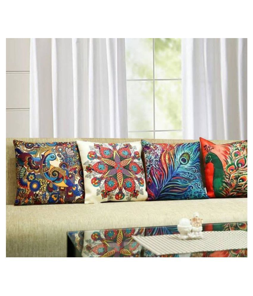 Daily Delight Set of 5 Jute Cushion Covers 40X40 cm (16X16)