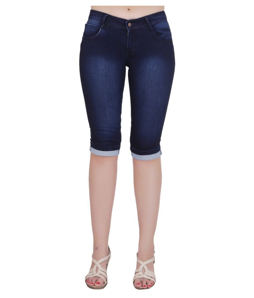FORTH Blue Poly Spandex Washed Capri
