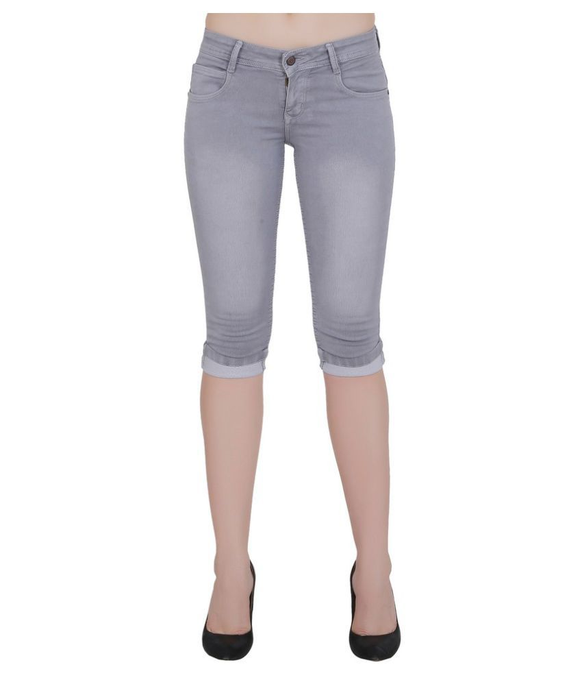 FORTH Grey Poly Spandex Washed Capri