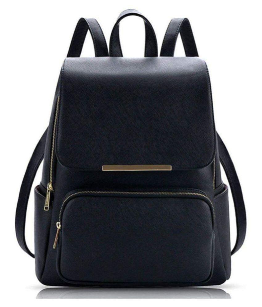 Parrk Black P.U. Backpack