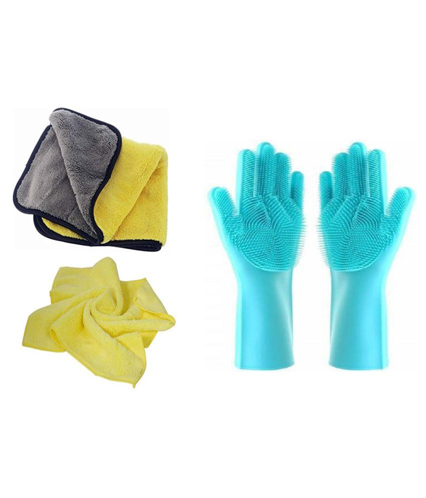 Microfiber Cloth And Rubber Gloves Cleaning For Home,Office,Table,Kitchen For Clean Everything microfiber cloth for cleaning mirror