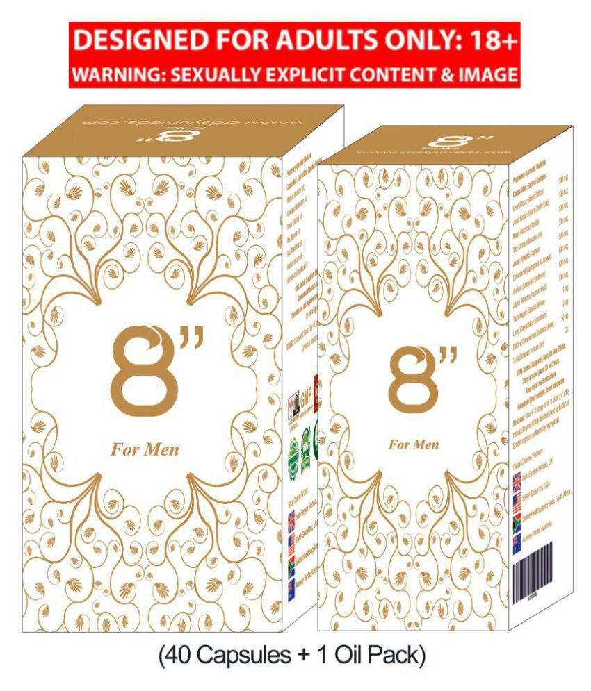 8 Inch Size, Time and Power Booster for Men(40 Capsules + Oil)