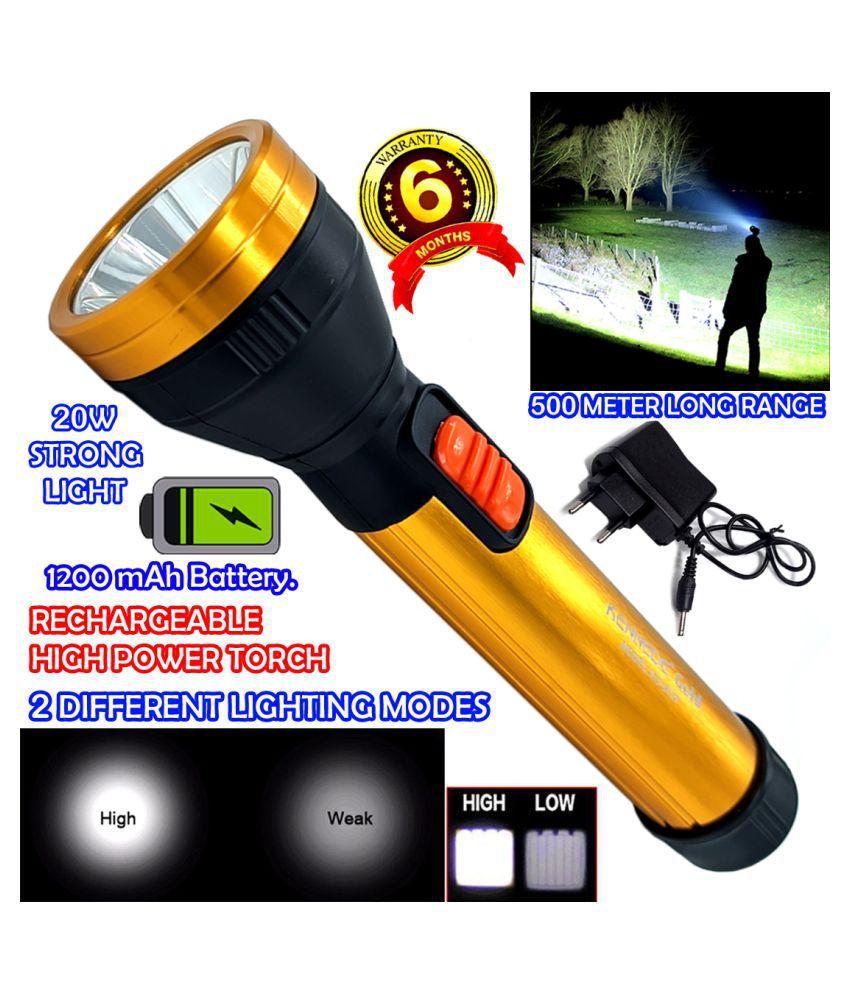 DGM 500 Meter Long Range 2 Mode Rechargeable High Power Waterproof 20W Flashlight Torch 1200 mAh Battery - Pack of 1
