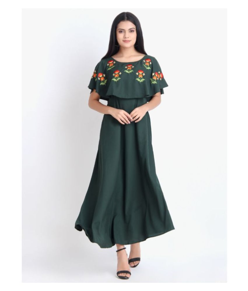 Exxelo Crepe Green Fit And Flare Dress
