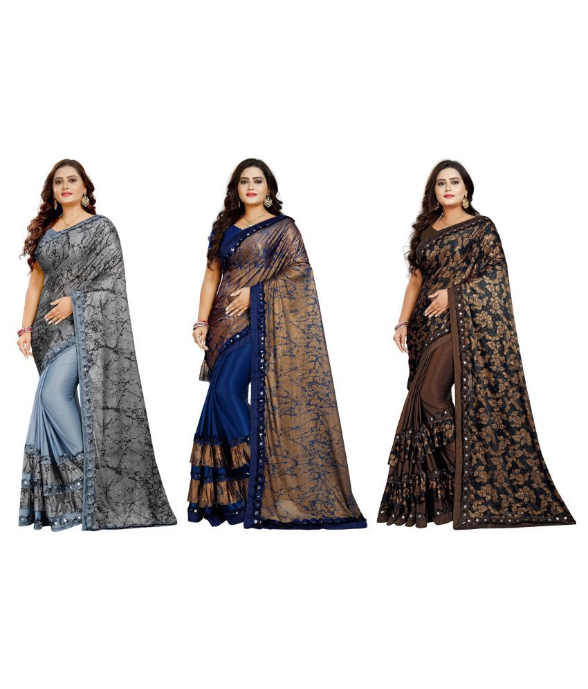 Sherine Grey l Blue l Brown Lycra Saree -  Pack of 3