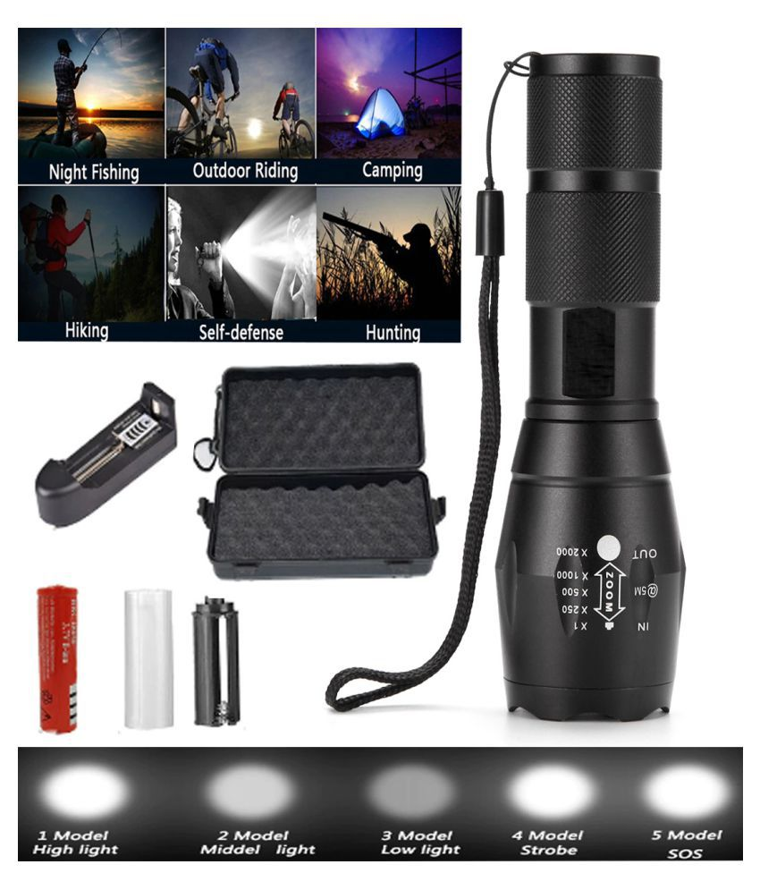 UC WATERPROOF 5 MODE RECHARGEABLE FLASHLIGHT LED TORCH 15W Flashlight Torch - Pack of 1