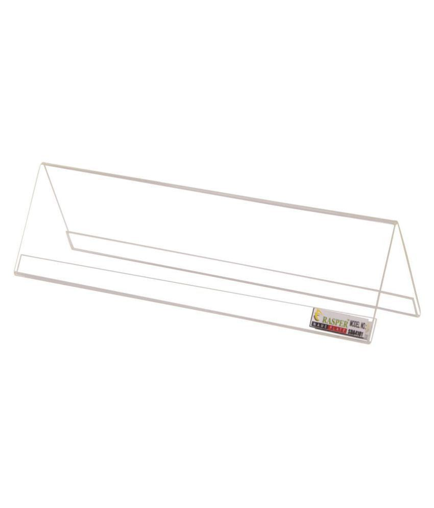 Rasper Clear Acrylic Name Plate Desk Label  Standard Size, 9x2.5 Inches    PACK OF 10 PCS
